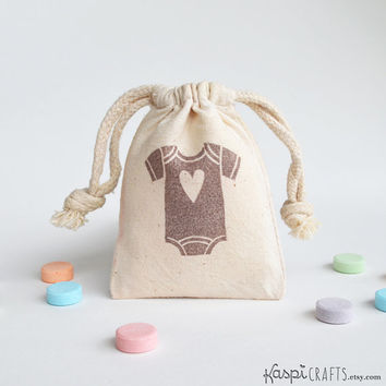 Baby shower favors, Onesuit favors, baby shower gifts, muslin favor bag, cotton favor bag for gifts, one (1) count