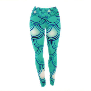 "Theresa Giolzetti ""Mermaid Tail"" Teal Blue Yoga Leggings"