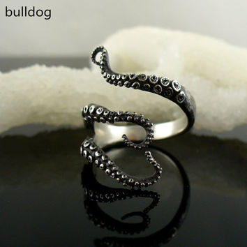 Drop Shipping Deep sea octopus ancient silver plating fashion rings jewelry accessories to open the adjustable size