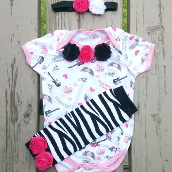 Rockstar Princess - Baby Shower Gift Set - Baby Girl - Baby Onesuit - Headband - Leg Warmers
