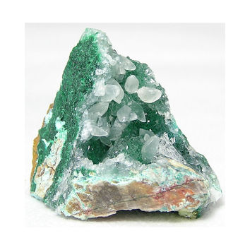 Calcite Crystals on Quartz Druzy over Malachite and Chrysocolla Mineral Specimen  or Lapidary Rough from Peru