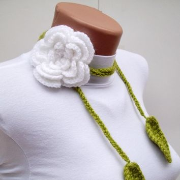 Crochet Leaves Scarf,Fiber,Flower Lariat Scarf,Brooch Pin
