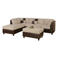 3-Piece Sectional Sofa in Cream Microfiber Brown Faux Leather