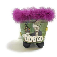 Mixed Media Witch Candy Bucket | be-WITCH-ing Decoupaged & Embellished Bucket