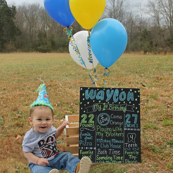 first birthday chalkboard, boy birthday, custom chalkboard, birthday sign, 1st birthday, chalkboard poster, blue, yellow, animals, memory