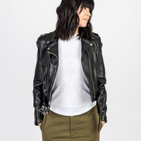Cropped Perfecto Black Lambskin Leather Jacket