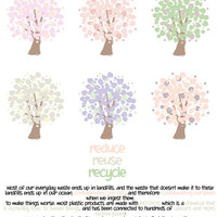 Personal and Commercial Use - Go Green - REDUCE REUSE RECYCLE! Set of 6 tree graphics/digitalstamp/logo/etc.