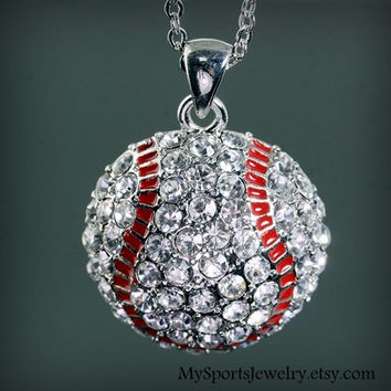 Baseball Domed Rhinestone Charm Necklace