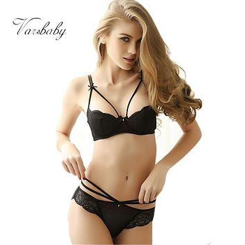Varsbaby Thin transparent lace sexy underwear sets half cup gauze bra sets for girl
