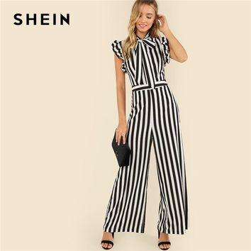SHEIN Black and White Casual V Collar Sleeveless Tie Neck Ruffle Armhole Striped Palazzo Jumpsuit Summer Women Workwear Jumpsuit