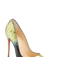 "Women's Christian Louboutin 'So Kate' Painted Genuine Python Pointy Toe Pump, 4 3/4"" heel"