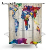 JaneYU 5 Colors Map Print Shower Curtains Bath Products Bathroom Decor with Hooks Waterproof
