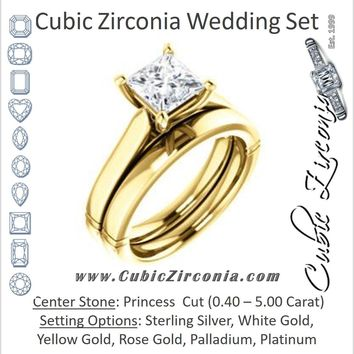 CZ Wedding Set, featuring The Kaela engagement ring (Customizable Princess Cut Solitaire with Stackable Band)