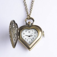Good&god Women Bronze Heart Steampunk Pocket Necklace Watch
