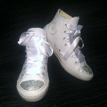custom converse wedding shoes chuck taylor all star white leather high tops w swaro