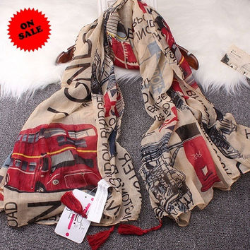 British style Tower Bridge of London M flag printing lady scarf = 1958077828