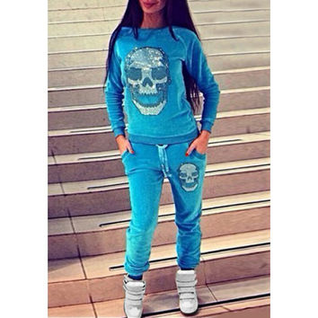 Active Skull Sequined Pullover Sweatshirt and Jogging Pants Twinset For Women