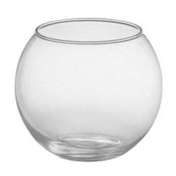 "Glass Rose Bubble Bowl in Clear - 5"" Tall"