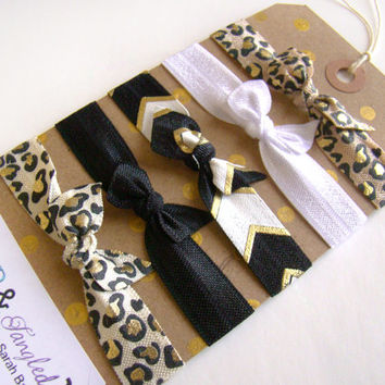 Cheetah Print Hair Ties, FOE, Preppy Elastic Hair Ties, Summer Hair Tie Set, Girly Hair Tie Set, Hair Git Set, Black, Gold, White