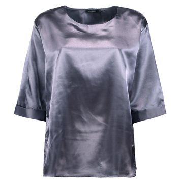 Poppy Boutique Oversized Side Spilt Satin T-Shirt | Boohoo