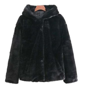 Hooded Faux Fur Coat - Black