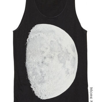 The Moon Half Moon Lunar Charcoal Black Art Singlet Vest Tunic Tank Top Sleeveless Shirt Women Indie Punk Rock T-Shirt Size S-M