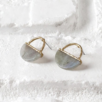 Semi-Circle Gemstone Drop Earrings