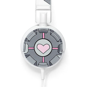 Companion cube Headphones earphones grey pink Portal video game