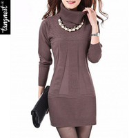 TANGNEST Women Knitted Dress Autumn Winter Turtleneck  & O-Neck Above Knee Office Plus Szie Ladies' Dresses Vestidos WZQ039