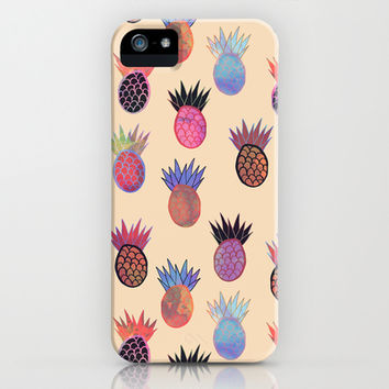 Tutti Frutti - Pineapple Print iPhone & iPod Case by Schatzi Brown