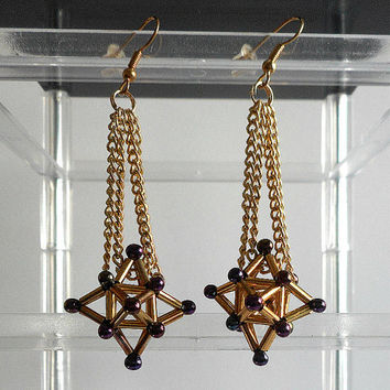 Geometric Beaded Earrings, Star-Shaped Dangle Earrings, Dressy Affordable Jewelry for Special Events, Purple and Gold Glass Beads and Chain