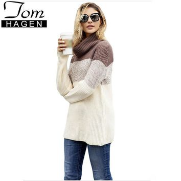 Fashion Autumn Winter Turtleneck Sweater Women Pullover Knitted Contrast Wool Sweater Female Knitted Pullover Long Sleeve Jumper