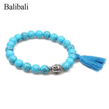 Balibali Silver Color Buddha Tassel Bracelets for Women Natural Stone Beaded Bracelet Men Prayer Jewelry Femme Meditation Bijoux