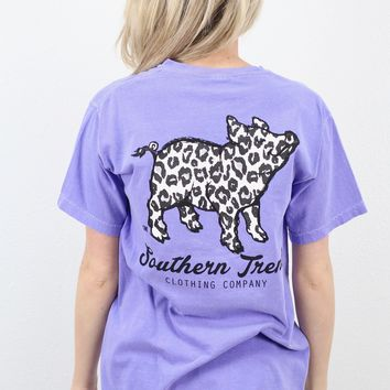 Snow Leopard Proud Pig Short Sleeve Tee {Violet}