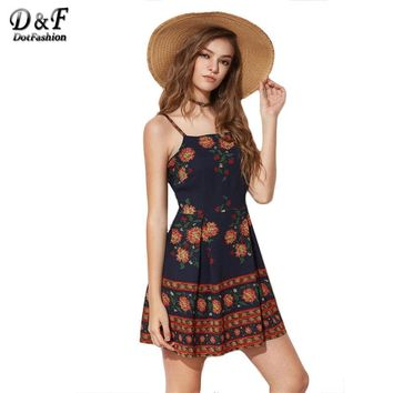 Dotfashion 2017 Summer Skater Casual Dress Floral Print Slip Cute Dress Women Spaghetti Strap Sleeveless Short Dresses