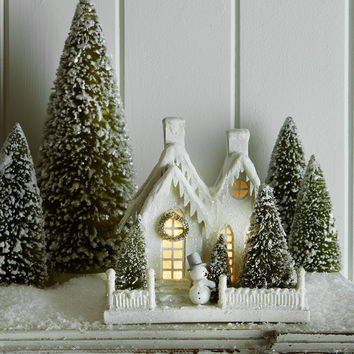 Ivory Glitter Cottage with Snowman - Bethany Lowe