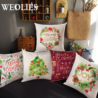 Merry Christmas Cushion Throw Pillow Cover Letter Printing Style Xmas Gifts Christmas Tree Pillowcase Home Decorative