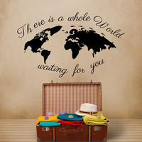 World Map Wall Decal Quote Decals There's The Whole World Waiting For You Vinyl Stickers  Kids Nursery Home Bedroom Decor  T23