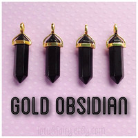 Gold Black Obsidian crystal point pendant, necklace, choker