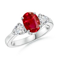 Oval Ruby and Pear Diamond Three Stone Ring