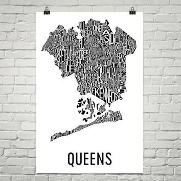 Queens Neighborhood Typography Prints – Modern Map Art