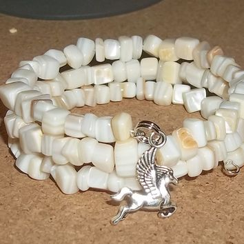 Pegasus Cream Mother of Pearl Chip Hand Crafted Wrap Bracelet