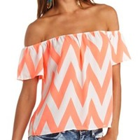 Sheer Chevron Print Off-the-Shoulder Top - Hot Coral Combo