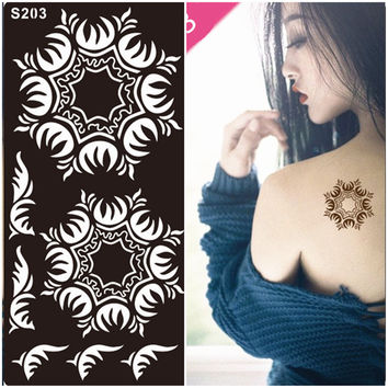 1Pcs Hand Henna Tattoo Stencils Mehndi Indian Temporary Glitter Airbrush Henna Tattoo Templates Stencil for Finger Painting