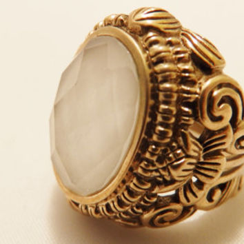 Barse Brass and Faceted Quartz Semi Precious Natural Stone Detailed Large Chunky Ring Size 6