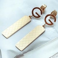 GUCCI letter net grain rectangular pendant ear nail female earring personality simple temperament
