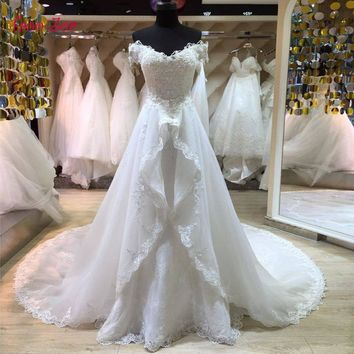 Taoo Zor Fashion Lace Mermaid Wedding Dress 2017 Detachable Train Vestido De Casamento Backless Vintage Boat Neck Wedding Gowns