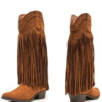 Ride, Ride, Ride Fringe Boots - Rust