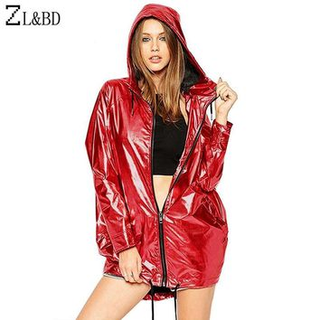 Trendy ZL&BD jaquetas femininas Metallic Color Bomber Jacket Womens Outerwear Hooded Autumn Coat Femme Zip up Waterproof Jacket ZA386 AT_94_13