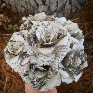 Alice's Adventure's in Wonderland Book Bouquet-Book lover gift-Book Bouquet-Book decor- Unique Gift- Bridal Bouquet- Paper Roses-Cheshire